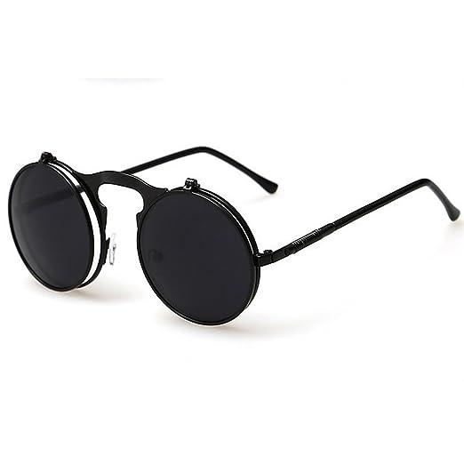 ec6bb9bce808 Julyshop Men Women Vintage Round Metal Frame Flip Up Sunglasses Glasses New  Eyewear Lens (black