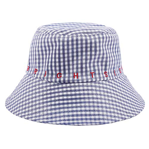 Crytech Letter Plaid Bucket Hat for Women Men, Unisex Fashion Checkered Cotton Fishing Hat Packable Hip Hop Uv Protection Fisherman Cap Sun Hat for Boy Girl Outdoor Casual Accessories (Blue)