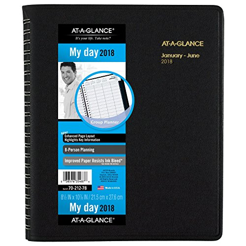 AT-A-GLANCE Daily Appointment Book 2018, Eight-Person, Group, 8-1/2 x 10-7/8