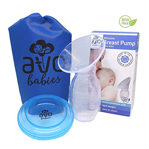 AVO BABIES Manual Breast Pump Breastmilk Collector Breastfeeding Silicone Milk Saver BPA-free Suction Breastpump Anti-dust Cover Lid Pouch Compact Storage Bags Nursing Engorgement Bottle - Label Collect Returns