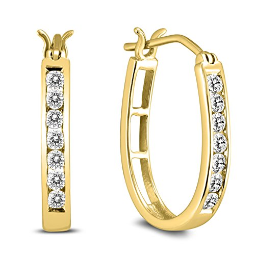 AGS Certified 1/2 Carat TW Diamond Hoop Earrings in 10k Yellow Gold ()
