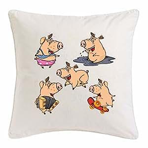 """funda de almohada 40x40cm """"DIVERTIDOS cerdos en el barro y la Musizieren Patinetas Mini cerdo de PIG SAU RAZA ferkel"""" Microfibra en color Blanco"""