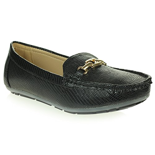 Womens Ladies Lightweight Padded Moccasins Comfort Everyday Office Work Casual Slip-On Flat Shoes Size Black ay25r9j