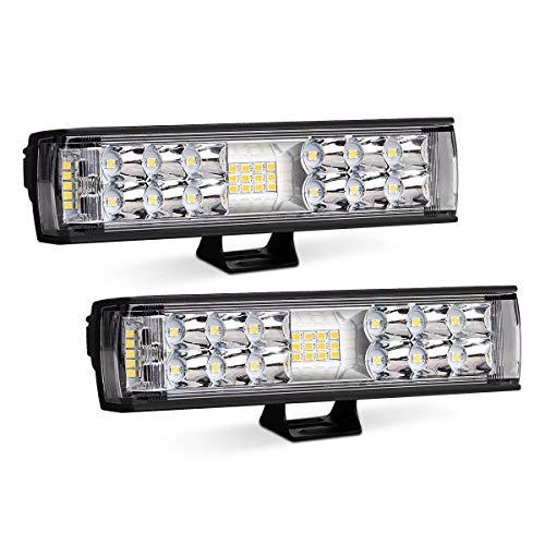 Rigidhorse 7 Inch LED Light Bar 72W 6000LM 2 Row Flood Spot Light Combo Light Pods Off Road Work Lights Fog Lights Driving Lights For Jeep Truck SUV ATV 4WD Car Truck Golf Cart, 2 Years Warranty
