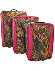 3pcs Mossy Oak Pattern Luggage Set with Pink Trim