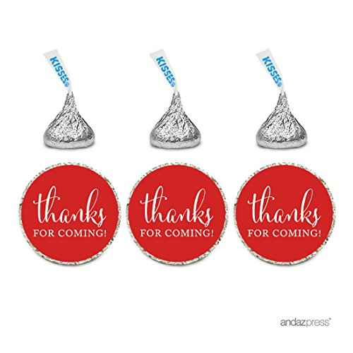 Andaz Press Chocolate Drop Labels Stickers, Thanks for Coming!, Red, 216-Pack, for Wedding Birthday Party Baby Bridal Shower Hershey's Kisses Party Favors Decor Envelope -