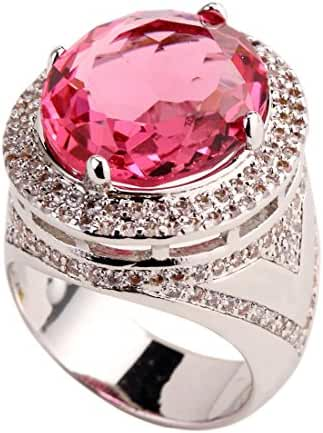 GULICX Silver Tone 1416mm Rhinestone CZ Vicotrian Style Ring Pink Women's