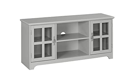 Amazon.com: MUSEHOMEINC Hawaii Wood TV Stand with Glass Cabinet and ...
