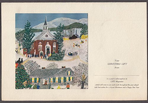 Life Magazine Christmas Gift Subscription Card Grandma Moses art 1956 (Grandma Moses Christmas Cards)