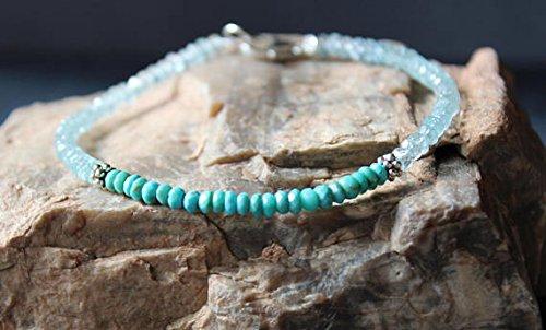 Turquoise Bracelet with Aquamarine, Sleeping Beauty Turquoise Bracelet, Dainty Beaded Gemstone Stacking Bracelet, All Natural Turquoise 3 ~ 3.5 mm