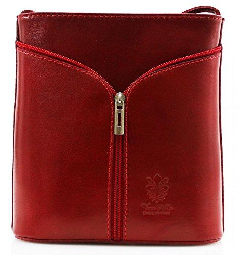 H&G Vera Pelle Mini Italian Real Leather Cross-Body Handbag (Orange) Red