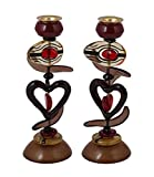 Yair Emanuel Candlesticks Exquisite Red Toned Heart Design 9''