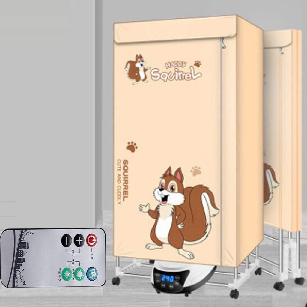 Secadora de ropa, de seis botones de pantalla táctil inteligente de inducción, control remoto ropa de esterilización de iones negativos secadora con fragancia, hogar plegable pequeña de ahorro de ener