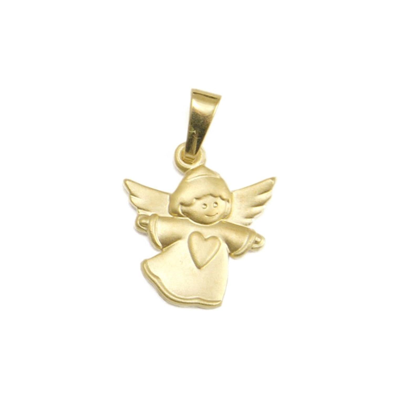 Schmuck Klein Goldener Engel-Anhänger mit Herz 333-- Gold inkl. Wunschgravur Taufgeschenk