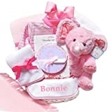 Minky Dots Personalized Baby Girl Gift Basket