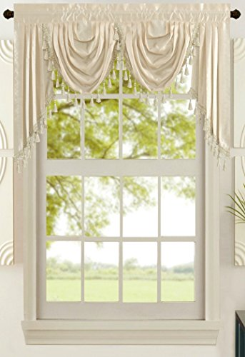 (All American Collection New Attached Solid Faux Silk Double Waterfall Valance with Tails (55