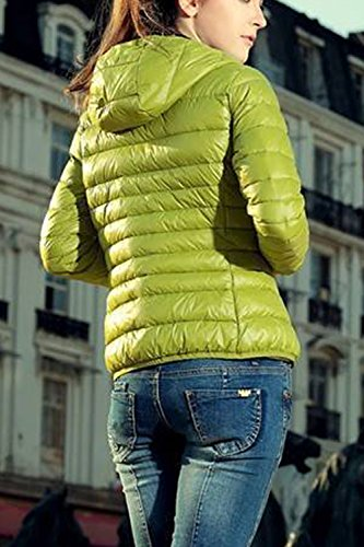Invierno Yellow La Cremallera con Manga Cálida De Casual Larga con Sólido Chaqueta Acolchada Mujer Capucha Sevozimda YPZqnUxq
