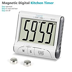 Large Digital Kitchen Cooking Timer Clock Sports Stopwatch Countdown Timer Loud Alarm Magnetic Back with Stand , Big Digits, 99 minutes, White(Battery Included)