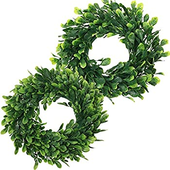 UltraOutlet 2-Pack Artificial Boxwood Wreath Eucalyptus Wreath 12 Inches Greenery Wreath for Door, Window, Wall, Wedding Party, and Home Decoration
