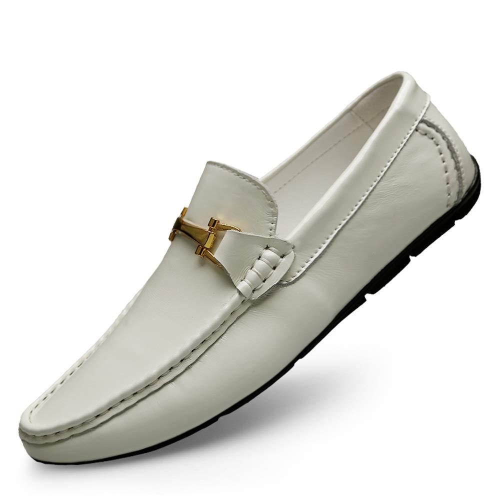 Herren Fahrschuhe Stiefel Mokassins Penny Loafer Lässige Lässige Lässige Slip On Echtes Leder Ober Runde Zehenschuhe,Grille Schuhe (Farbe   Weiß, Größe   40 EU)  dd65e7