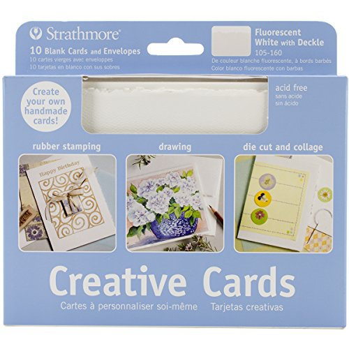 Strathmore 105-160 Full Size Creative Cards, Fluorescent White/Deckle, 10 Cards & Envelopes ()