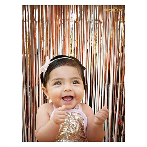 ShiDianYi Rose Gold 3FTX8FT-Foil Fringe-Curtain ,Tinsel Door Window Curtain, Party Photo Booth Background for Birthday Party and Bachelorette Party Photo Booth Wall Decoration (Rose Gold)