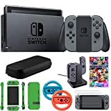 Nintendo Switch 32 GB Console w/Gray Joy Con (HACSKAAAA) Mario Kart 8 Deluxe + 2-Pack Steering Wheel Blue/Red + 2-Pack Tempered Glass Screen Protector + Joy-Con Charging Dock + More