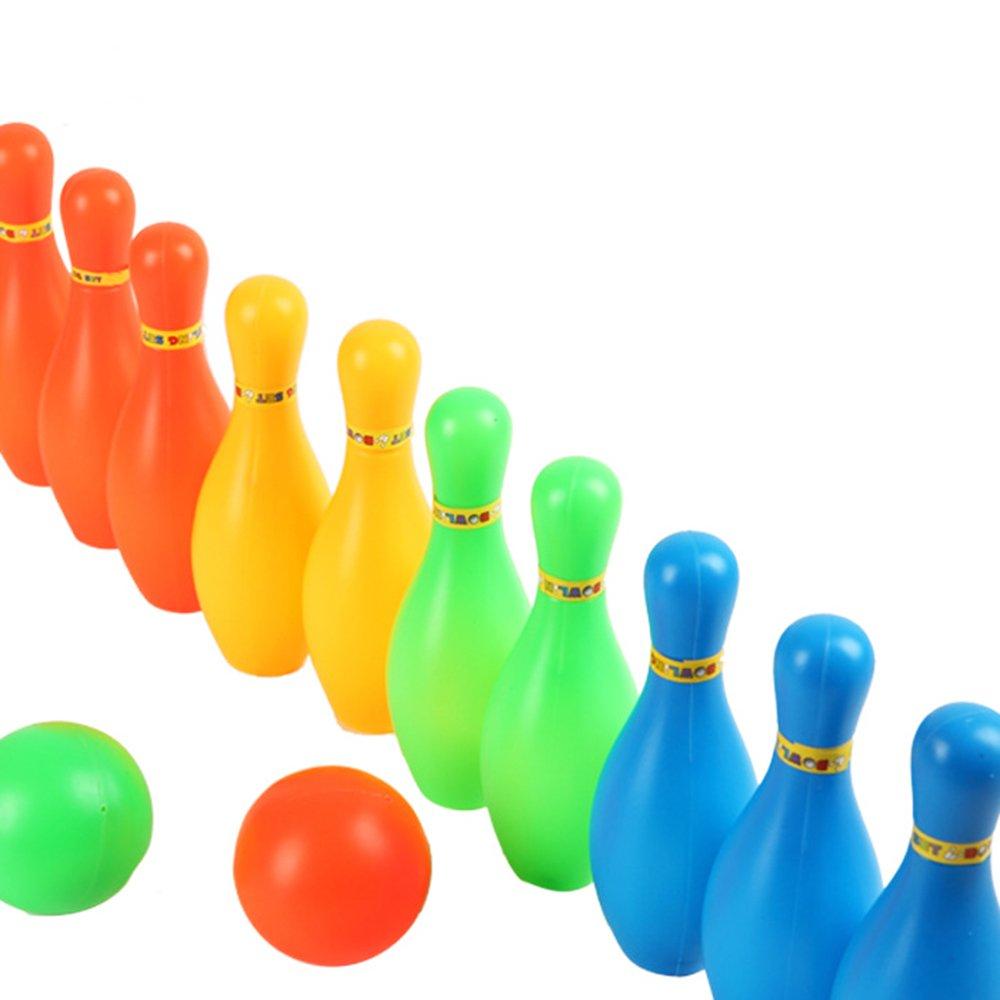 Ndier Mini Juego de Bolos en Miniatura portátil Juego de Regalo de Juguete para niños Divertidos niños 1 Set de Color al Azar