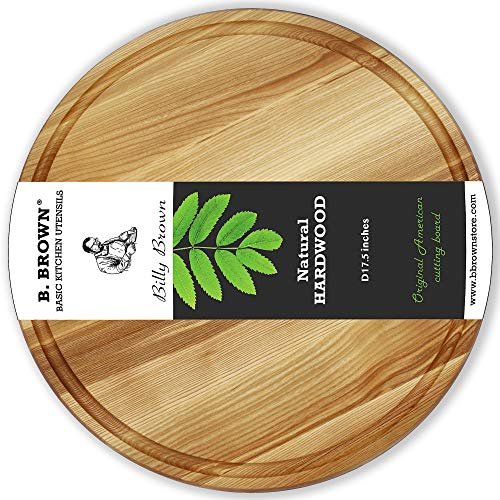 - B.Board Large Wood Round Cutting Board Round Serving Board Chopping Board Serving Tray (17.5