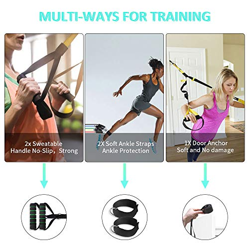 1//2//4X Gym Resistance Bands Handles Anti-slip At Home Gym Strong Fitness Workout
