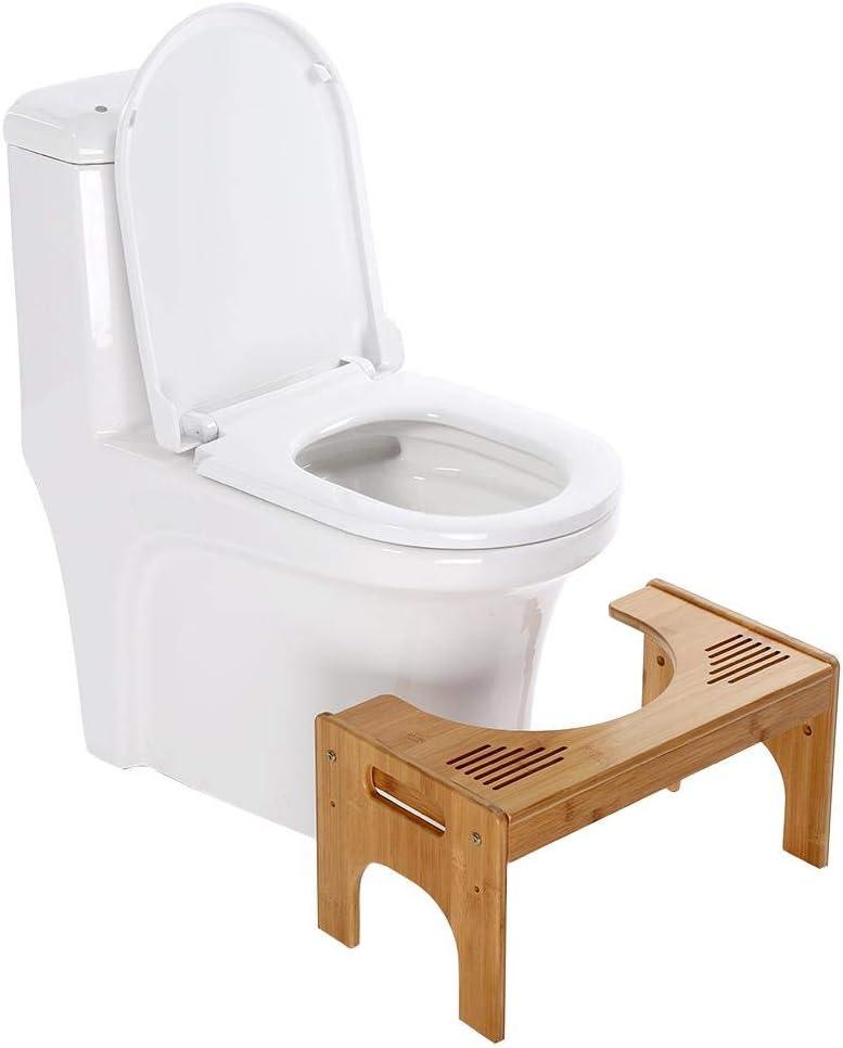 ergonomique GOTOP Tabouret en bambou pour le WC Tabouret de toilette pour enfants Ruban pour les femmes /âg/ées 48,5 x 27 x 25 cm Contre constipation et h/émorro/ïdes
