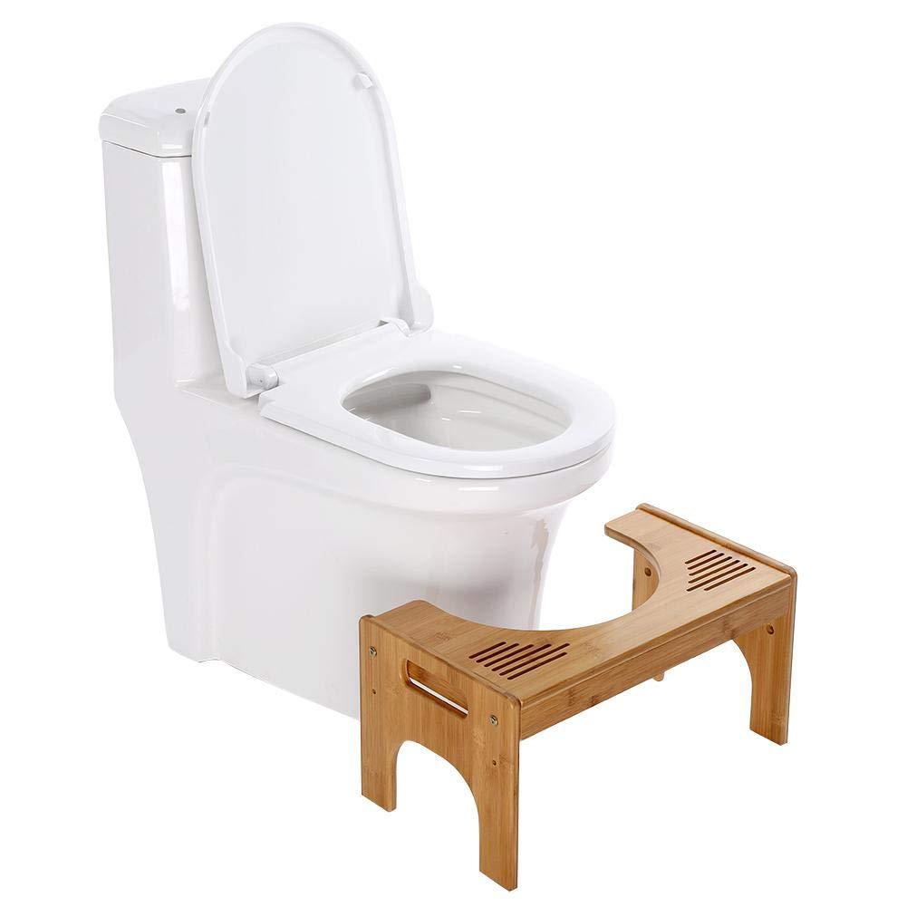GOTOTOP Sgabello in Bamboo per Il WC Squatty Potty Sgabello da Toilette, Ergonomico, Contro costipazione ed emorroidi, per Bambini Incinta per Le Donne anziane, 48.5 x 27 x 25cm