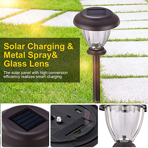 SUNWIND Solar Pathway Lights Outdoor Waterproof Glass Landscape Lights 6-Pack Warm White LED for Garden,Path,Patio Yard,Walkway and Driveway (Bronze Metal) by SUNWIND (Image #2)