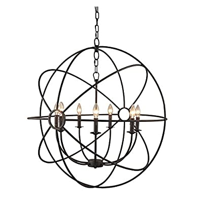Yosemite Home Decor SCFP2005-7-RS 7 Lights Mini Chandelier, Rustic Finish, Black