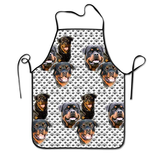 Nienxksecc Kitchen Apron Bib Aprons Women Men Professional Chef Aprons with Extra Long Ties - Rottweilers and Thistles, Waterproof Waiter Hostess Apron for Crafting Dinner