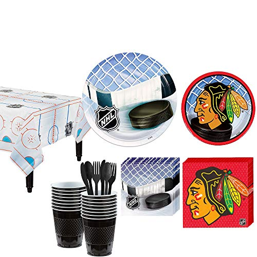 Party City Chicago Blackhawks Party Kit for 16 Guests, Includes Table Cover, Plates, Napkins and More -