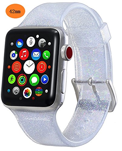 for Apple Watch Band 42mm 44mm iWatch Band for Women Bling Stylish Glitter Silicone Sports Replacement Strap with Stainless Steel Metal Clasp for Apple Watch Series4/3/2/1 Ownace (42mm-Silver)