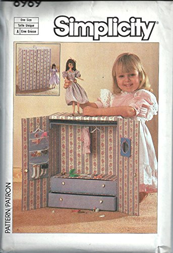 Simplicity Sewing Pattern 6969 Barbie Doll Wardrobe Closet, Wardrobe and Accessories Carry Case, -