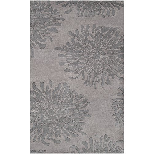 Surya Bombay BST-540 Contemporary Hand Tufted 100% New Zealand Wool Silver Cloud 2' x 3' Floral Accent Rug (Rug Bombay Surya)