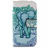 Galaxy Core LTE Case, Chinstyle Samsung Galaxy Core LTE G386W G386F Case PU Leather Wallet Case Magnetic Closure Green Flower Elephant Pattern Flip Cover