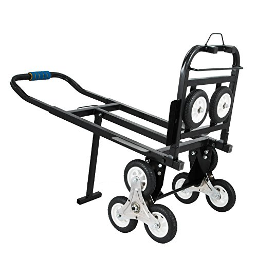 VEVOR Stair Climbing Cart 45 Inches Portable Hand Truck 2X Three-Wheel Hand Truck Stair Climber 330LB Capacity Folding Stair Hand Truck Heavy Duty with 2 Backup Wheels - Three Truck