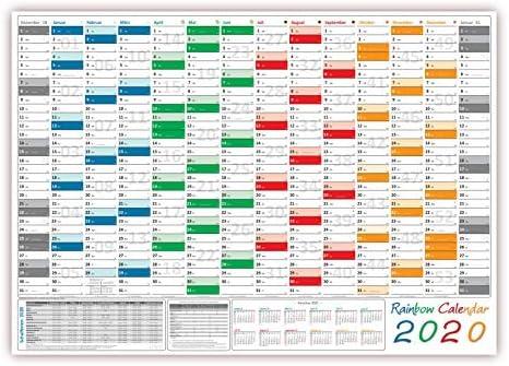 Rainbow Wandkalender/Wandplaner 2020 - gefaltet DIN A2 Format (594 x 420 mm) mit 14 Monaten, kompletter Jahresvorschau Folgejahr und Ferientermine/Feiertage aller Bundesländer