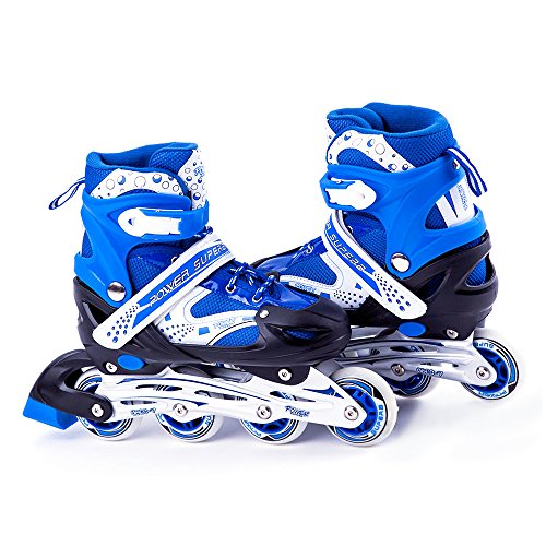 Hockey Rollerblades (Scale Sports Kids Adjustable Inline Skates Outdoor Durable Perfect First Skates 6032 Blue Medium)