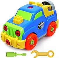 Desmontar y ensamblar Coches con la Herramienta Juguete Tornillo de Construcción para Niños de 3 Años (Jeep)