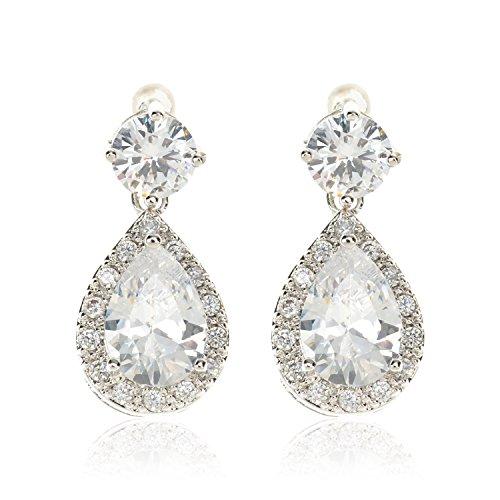 - Qise Luxury Cubic Zirconia Drop Earrings Round Halo Teardrop Gemstone Jewelry for Women or Girls (Teardrop White 0.43