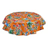 """Round Oilcloth Tablecloths in Edgar's Butterfly Collection - Orange - 47"""""""