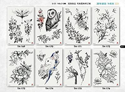 DaLin Sexy Floral Temporary Tattoos for Women Men Flowers Collection