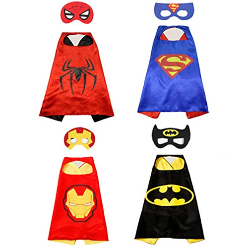 superman+costumes Products : yousheng,Comics Cartoon Dress Up Costumes,Superman cape for Dress Up Kids Toys,4 Capes and Masks,Four different choice