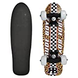 Rude Boyz 17 Inch Skateboard Mini Retro Wooden Cruiser Board Vintage Bananaboard - Racing Design with White Wheels