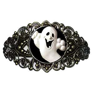 Chicforest Bronze Retro Style Halloween Ghost Flower Cuff Bracelet
